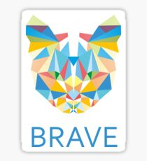 Brave Diamond Cat in Geometrical Triangles Kaleidoscopic Eye Sticker