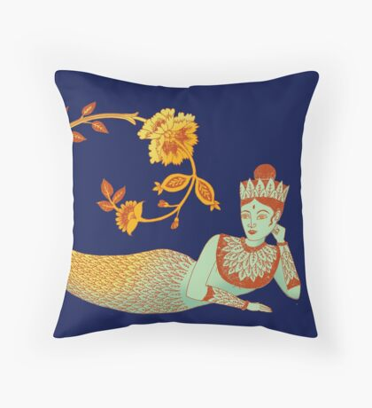 Flower Devi Green Goddess Throw Pillow