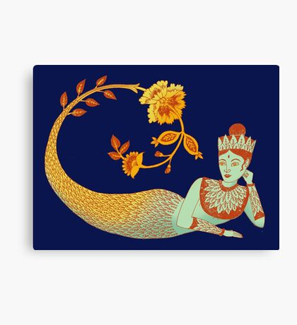 Flower Devi Green Goddess Canvas Print