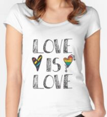 Love Is Love Doodles LGBT Women's Fitted Scoop T-Shirt