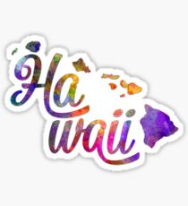 Hawaii US State in watercolor text cut out Sticker