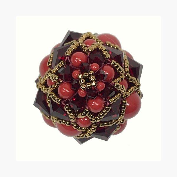 Kieferzäpfchen aus red coral & Siam Swarovski Kristallglas Kunstdruck