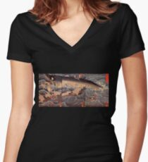 Japanese Print:  The Japanese Moby Dick Women's Fitted V-Neck T-Shirt