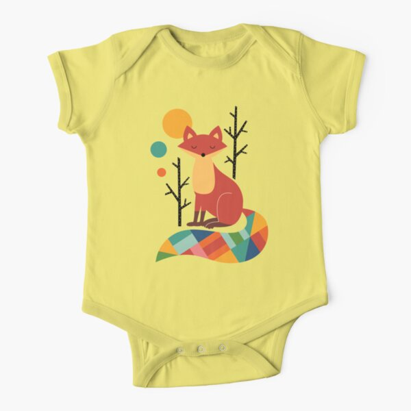 Rainbow Fox Short Sleeve Baby One-Piece