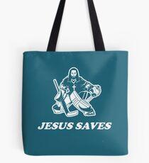 Jesus Saves Hockey Goalie Tote Bag