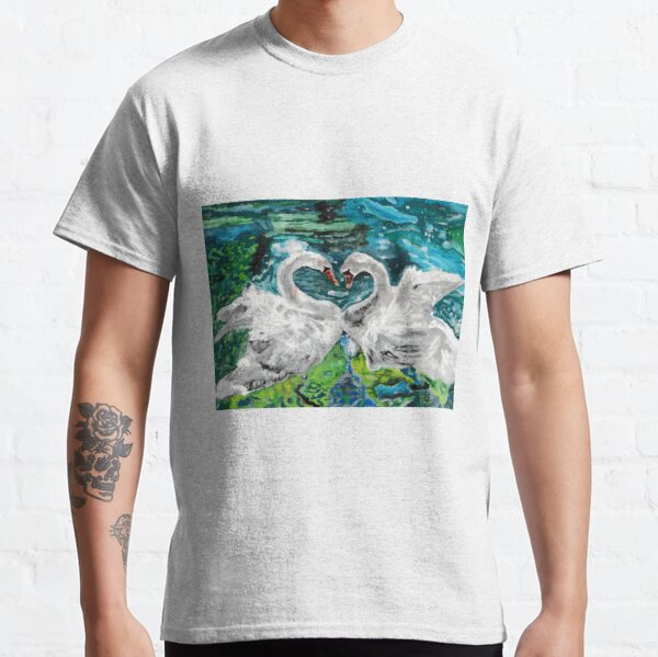 Swans in Love Acrylic Painting Classic T-Shirt