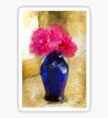 Pink Carnations In Cobalt Blue Vase Sticker
