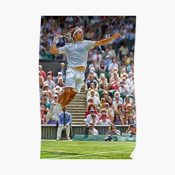 Flying Roger Federer à Wimbledon. Affiche d'impression numérique. Cadeau d'art fan de tennis. Poster