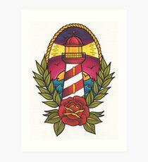 Traditional Tattoo Lighthouse Design.  Art Print