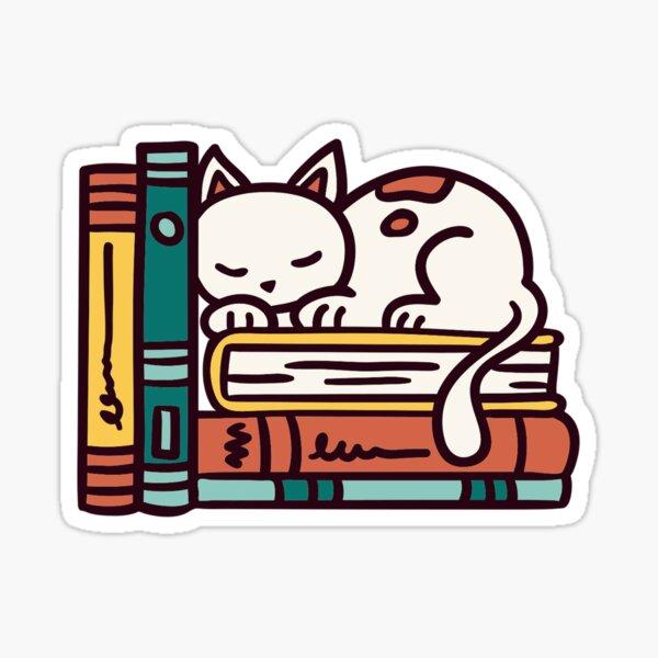 cat and bookshelf  Sticker