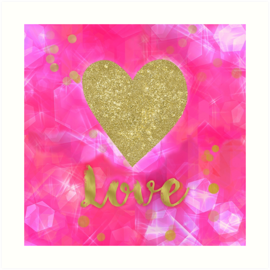 First Love heart pink glimmer glitter poster by Glimmersmith