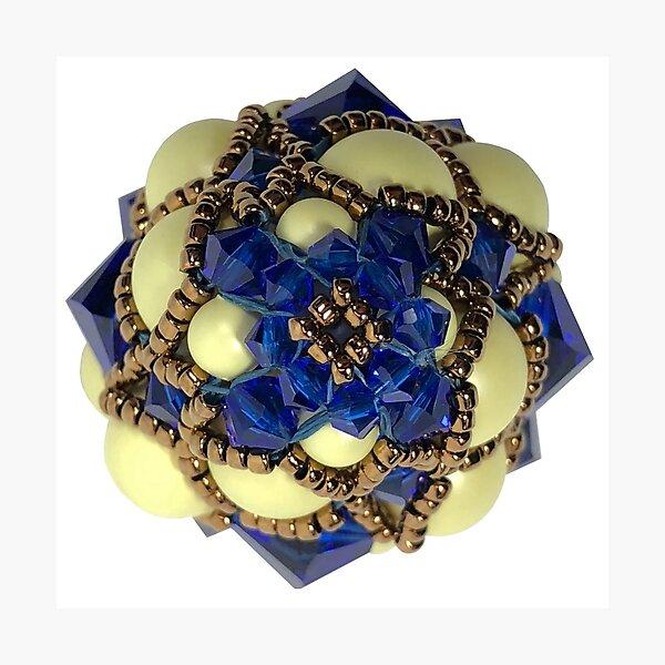 Kieferzäpfchen aus Castel yellow Pearls & majestic blue Swarovski Kristallglas Fotodruck