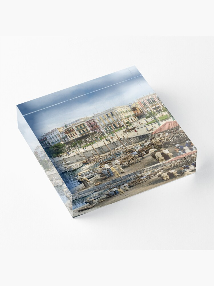 Alternate view of Old San Juan Marina, Puerto Rico in the year 1903 Acrylic Block