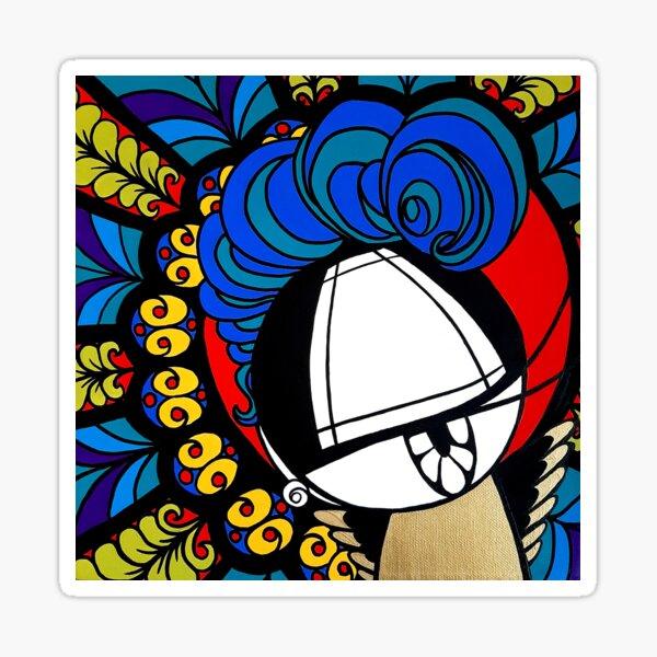ThroughTheGlass stained glass inspired kawaii street pop artwork Sticker
