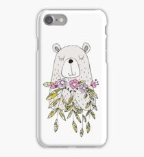 Cartoon Animals Cute Bear With Flowers iPhone Case/Skin