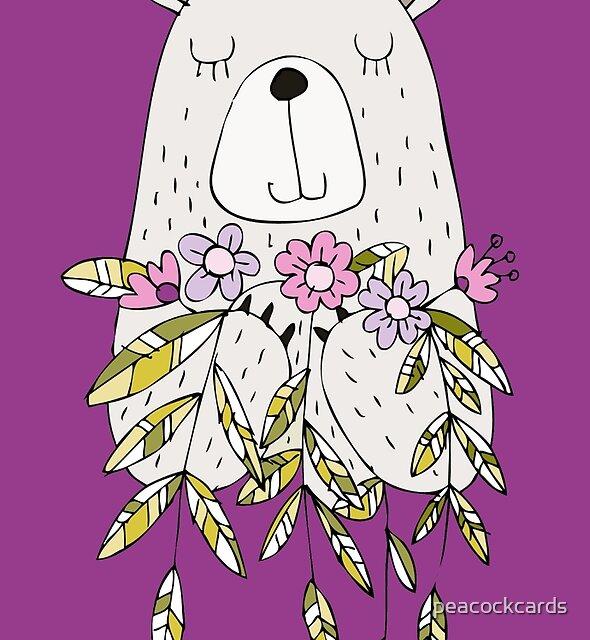 Karikatur-Tier-netter Bär mit Blumen von peacockcards
