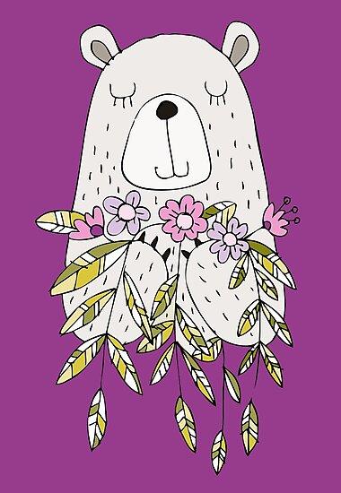 Cartoon Animals Cute Bear With Flowers by peacockcards