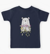 Cartoon Animals Cute Bear With Flowers Kids Clothes