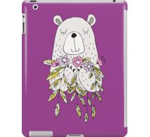 Cartoon Animals Cute Bear With Flowers iPad Case/Skin