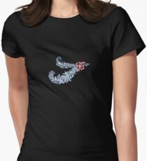 DIAMOND FEATHERS WITH PINK RIBBON Womens Fitted T-Shirt