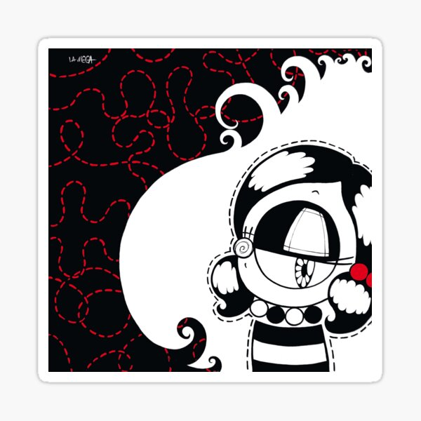 Untitled spilled wine inspired kawaii street pop artwork Sticker