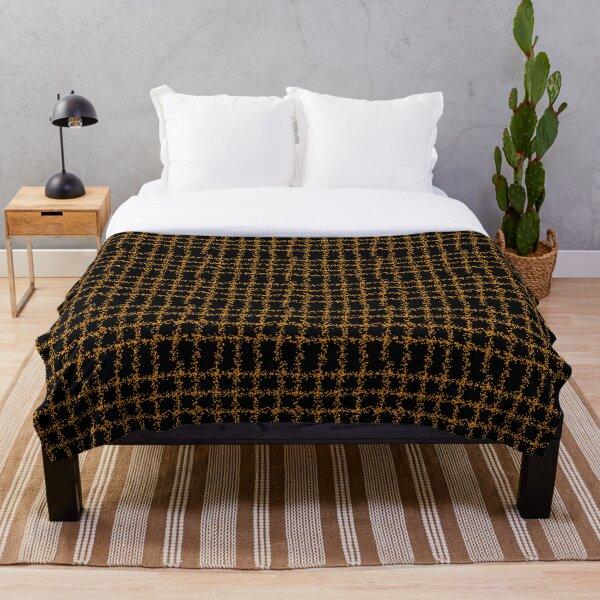 Black-Orange Plaid Pattern Throw Blanket