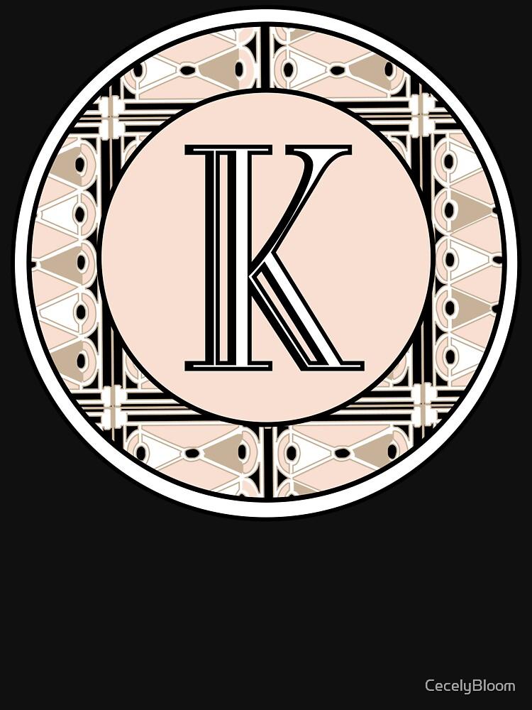 1920s Pink Champagne Deco Monogram letter K by CecelyBloom