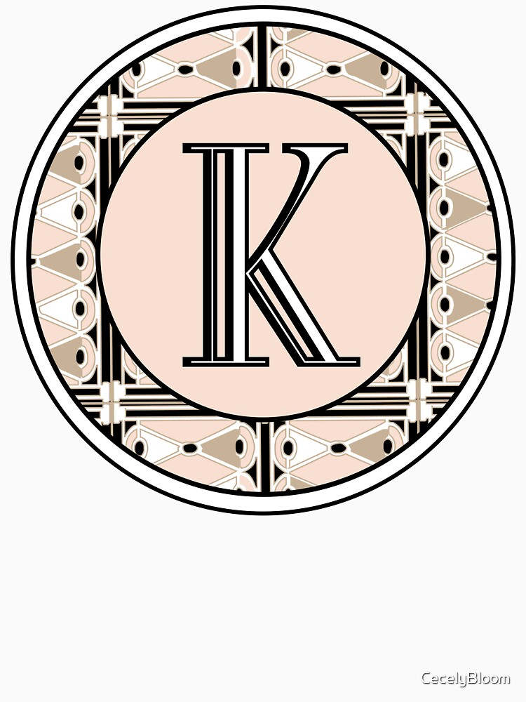 1920s Pink Champagne Deco Monogram letter K by CecelyBloom