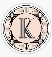 1920s Pink Champagne Deco Monogram letter K Sticker