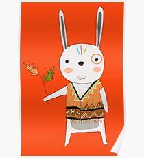 Cartoon Animals Tribal Bunny Rabbit Poster