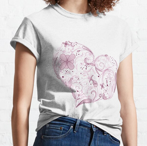 Flowered Love Heart for Valentine's Day Classic T-Shirt