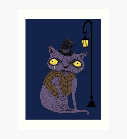 Sad Cat with Moonlight Memories Art Print