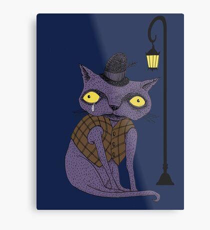 Sad Cat with Moonlight Memories Metal Print