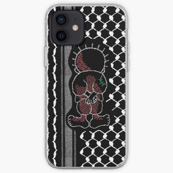 Palestinian Handalah Caricature In Tatreez Embroidery Like Design Kufiya Pattern - wht iPhone Soft Case