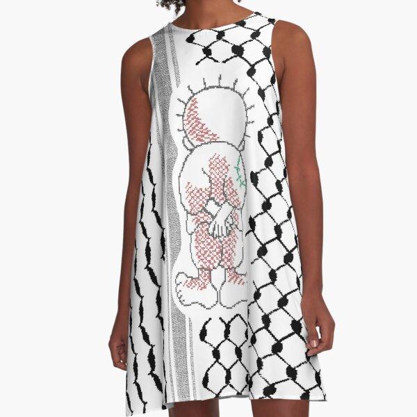 Palestinian Handalah Caricature in Realistic Tatreez Embroidery Palestine Kufiya Pattern - blk A-Line Dress