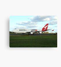 Qantas 747 on Easter Island runway Canvas Print