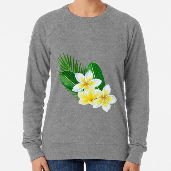 Tropical White Plumeria Lightweight Sweatshirt