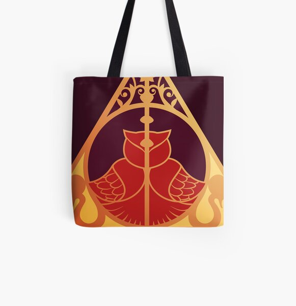 Artefact owl and snake - golden red All Over Print Tote Bag