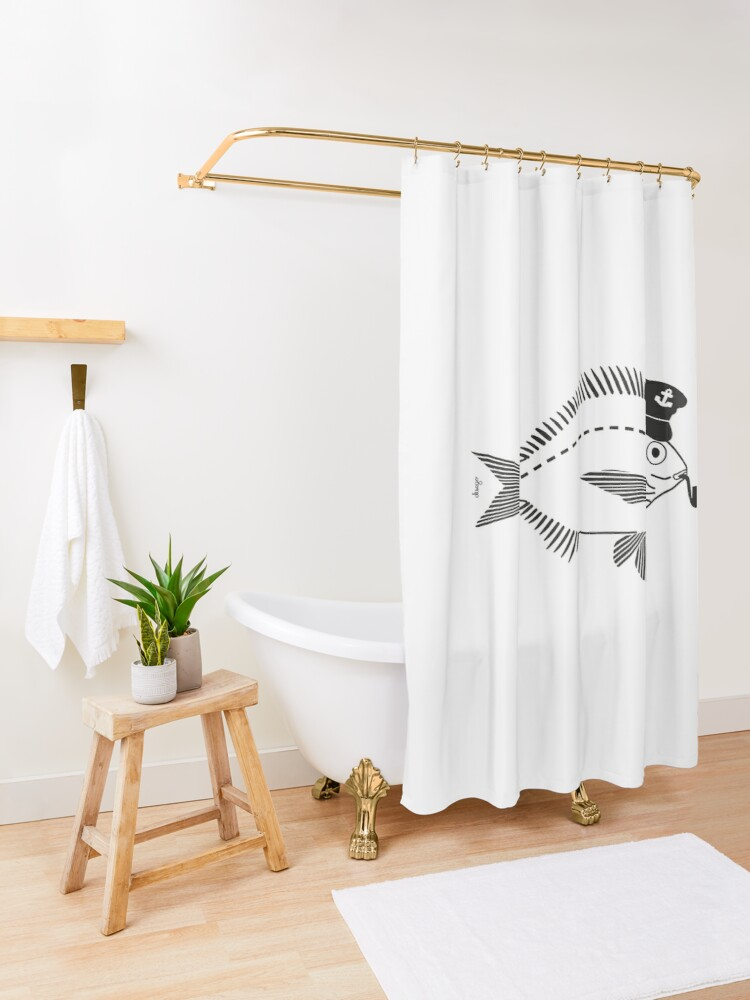 Alternate view of Sargo captain disego Shower Curtain