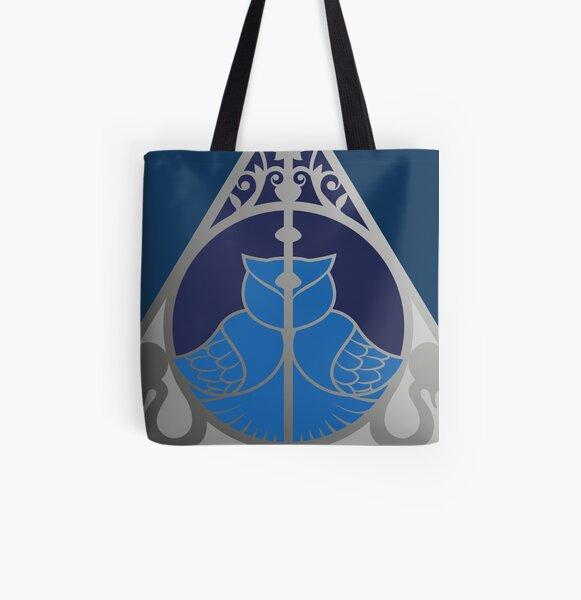 Relique hibou et serpent - argenté bleu Tote bag doublé