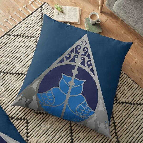 Relique hibou et serpent - argenté bleu Coussin de sol