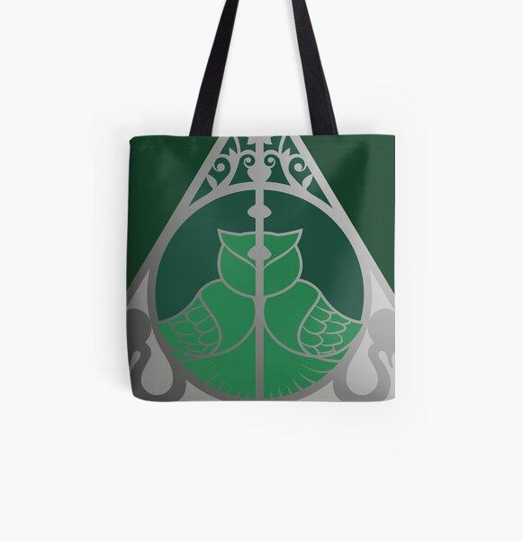 Relique hibou et serpent - argenté vert Tote bag doublé