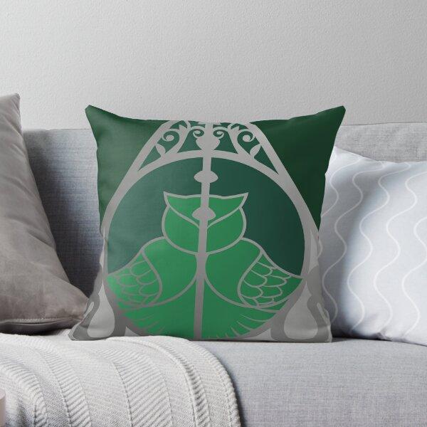 Relique hibou et serpent - argenté vert Coussin