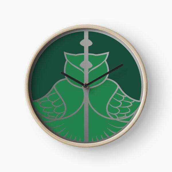 Relique hibou et serpent - argenté vert Horloge
