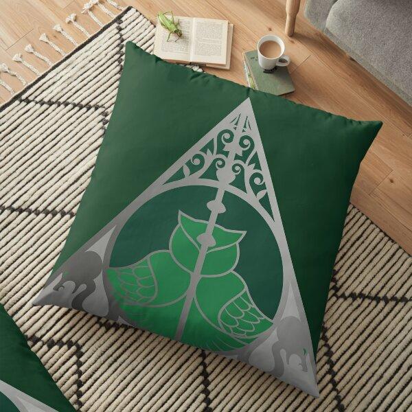 Relique hibou et serpent - argenté vert Coussin de sol