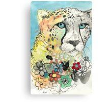 Cheetah Flowers Canvas Print