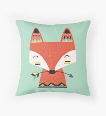 Tribal Red Fox Cartoon Animals Throw Pillow