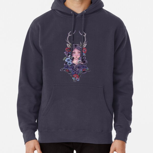 Dark Faun Girl with Flowers Pullover Hoodie