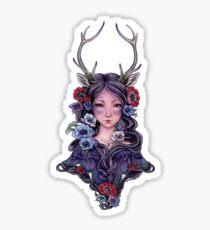 Dark Faun Girl with Flowers Sticker