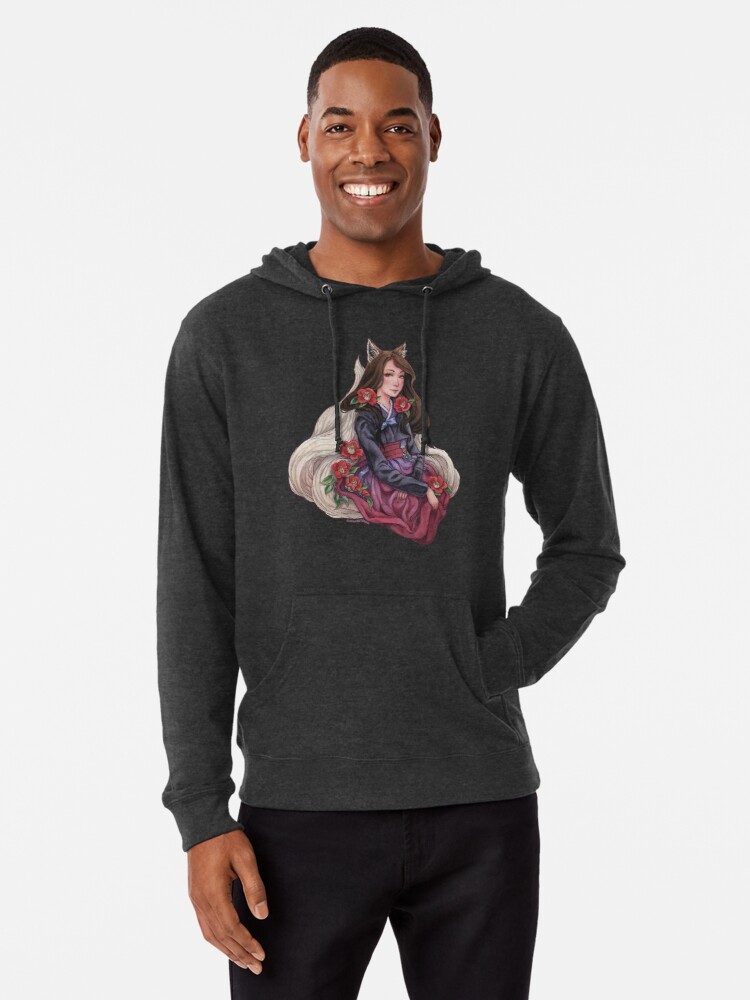 'Gumiho/Kitsune with Camelias - Fox Spirit Girl' Lightweight Hoodie by  Meredith Dillman